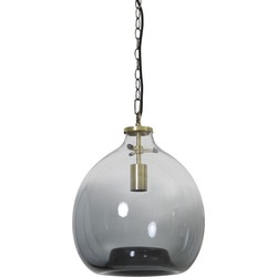 Hanglamp GENIVY - glas smoke-koper - S