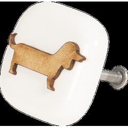Deurknop - 5*5*3 cm - bruin - keramiek - vierkant - hond - Clayre & Eef - 64233