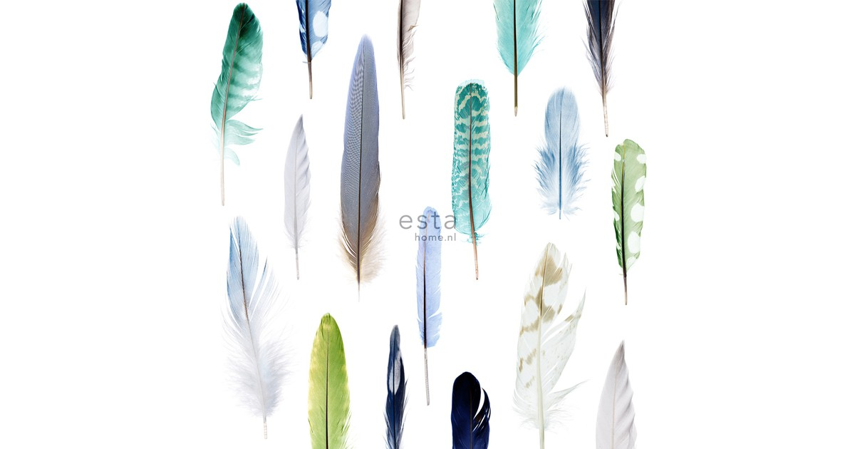 ESTAhome behang XXL veren groen. blauw en beige