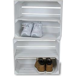 Fruitkist - Nieuw -Wit - Set van 2 - Legplank Wit  Lang - 50x30x40cm