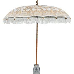 Todo Bien Bali parasol creme met volledig gouden beschildering, fringe 180 cm