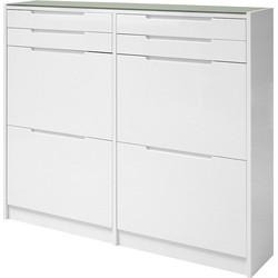 24Designs Wess Schoenenkast 4-Vaks + 4-Laden 124,2x24x104,3 - Hoogglans Wit