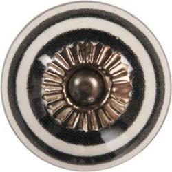 Deurknop wit met zwart randje VAN 2.95 VOOR 1.50 SALE
