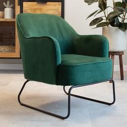 Industriële fauteuil velvet Kristie groen