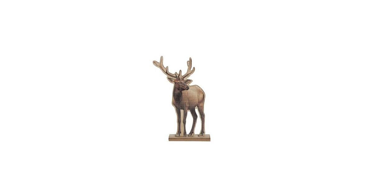 Clayre & Eef Decoratie Rendier 16*4*25 cm Bruin Hout Decoratief Figuur Decoratieve Accessoires