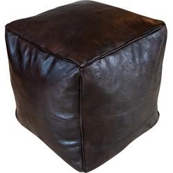 Vierkante leren Poef -donker bruin bruin - Handgemaakt - Gevuld geleverd - Poufs&Pillows