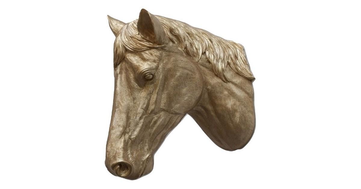 Paardenhoofd Wanddecoratie -Paard - Goud - Paardenhoofd Goudkleurig 15x21x31
