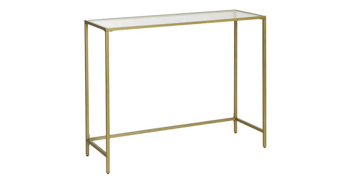 Nancy's Brighton Salontafel - Rechthoekige Glazen Tafel - Gouden IJzeren Frame - Bijzettafel - Verstelbare Poten - 100 x 35 x 80 cm (L x B x H)