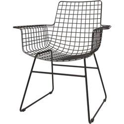 HKliving eetkamerstoel, draadstoel metaal zwart met armleuningen 72x64x84cm