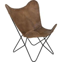 Light&Living Vlinderstoel BUTTERFLY leer bruin 86 x 87 x 75