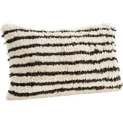 Madam Stoltz Kussenhoes Wol Zwart Wit 35 x 60