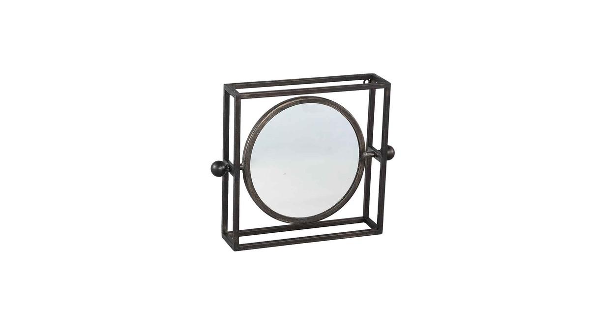 PTMD Bodine Vierkante Spiegel - 20 x 4 x 20 cm - Metaal - Zwart