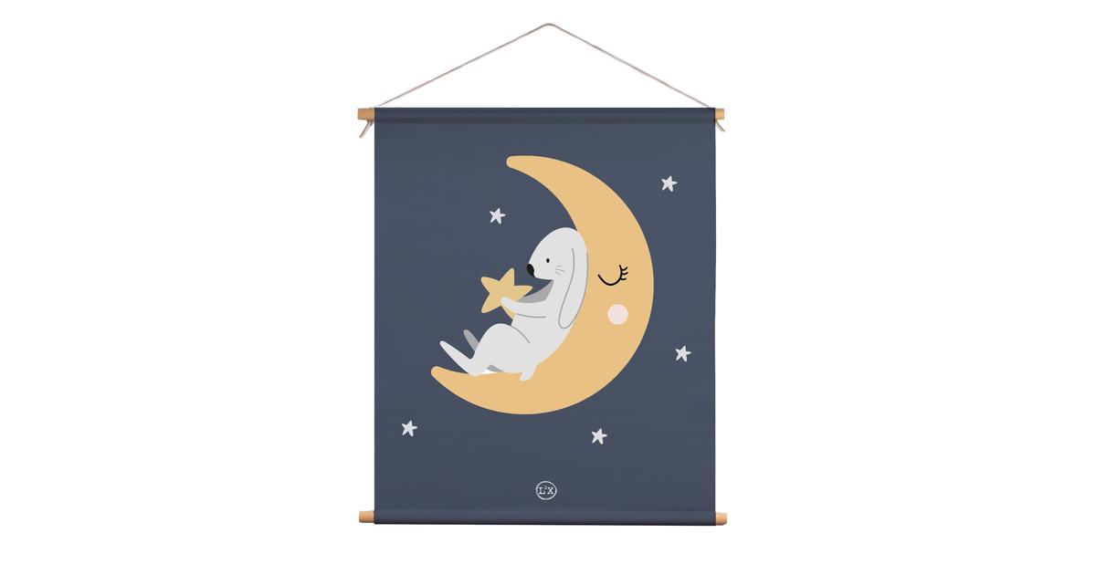 Textielposter kids moon bunny