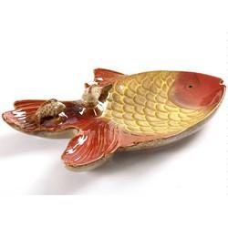 Fine Asianliving Goudvis Schaal met Visjes Aardewerk