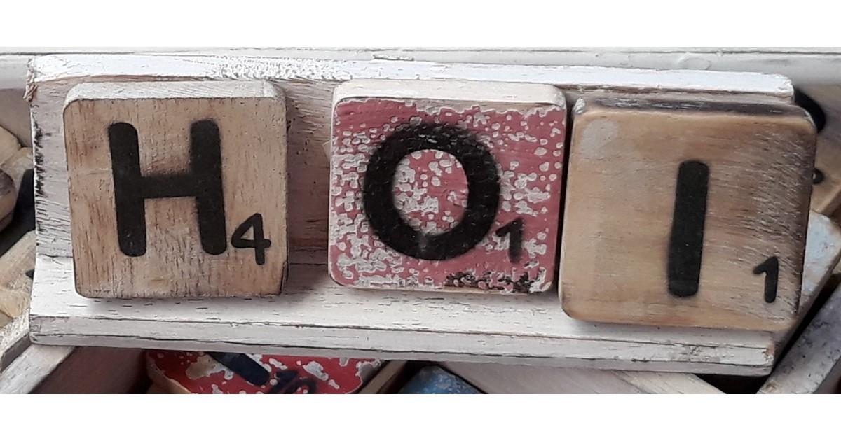 Warentuin over Zee Scrabble letterplankje 20 cm
