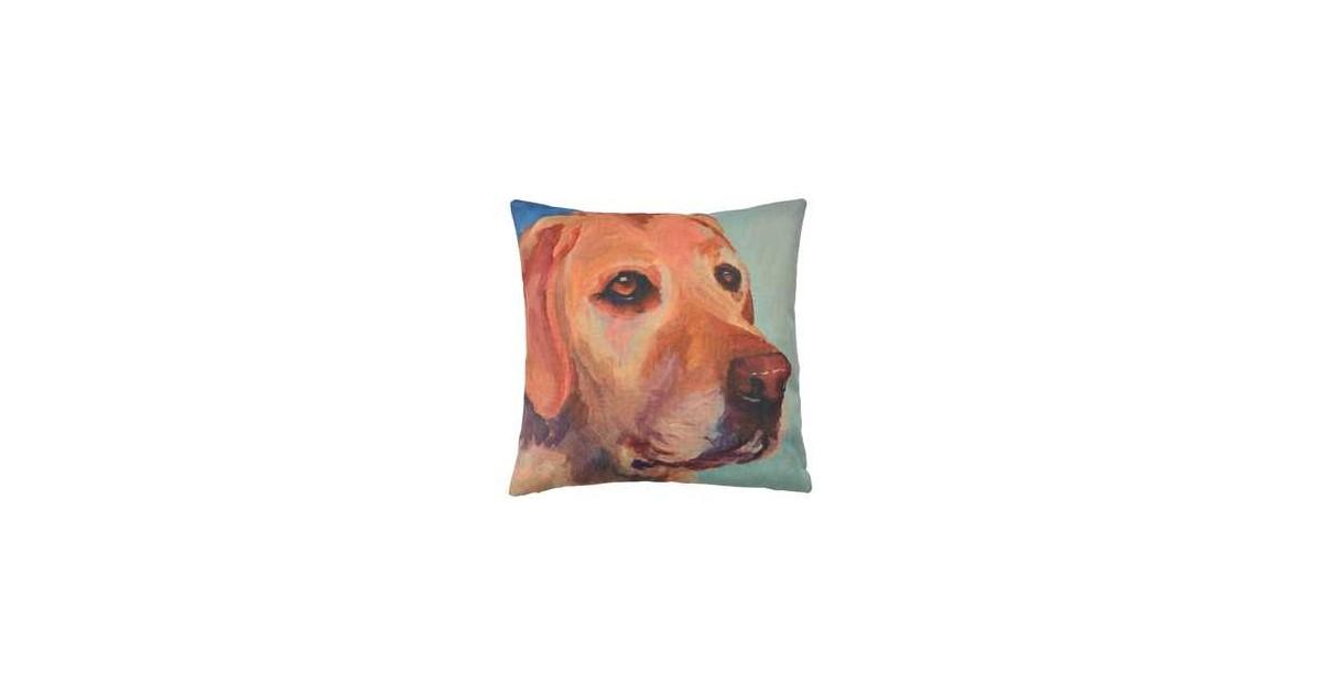 Clayre & Eef Kussenhoes KT021.233 43*43 cm Bruin, Geel, Groen Polyester Vierkant Hond Sierkussenhoes