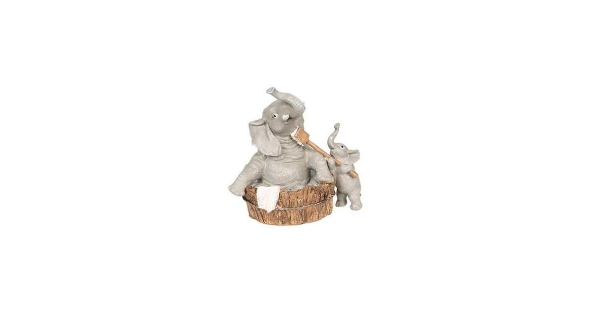 Clayre & Eef Decoratie Beeld Olifant 13*9*13 cm Grijs Polyresin Decoratief Figuur Decoratieve Accessoires