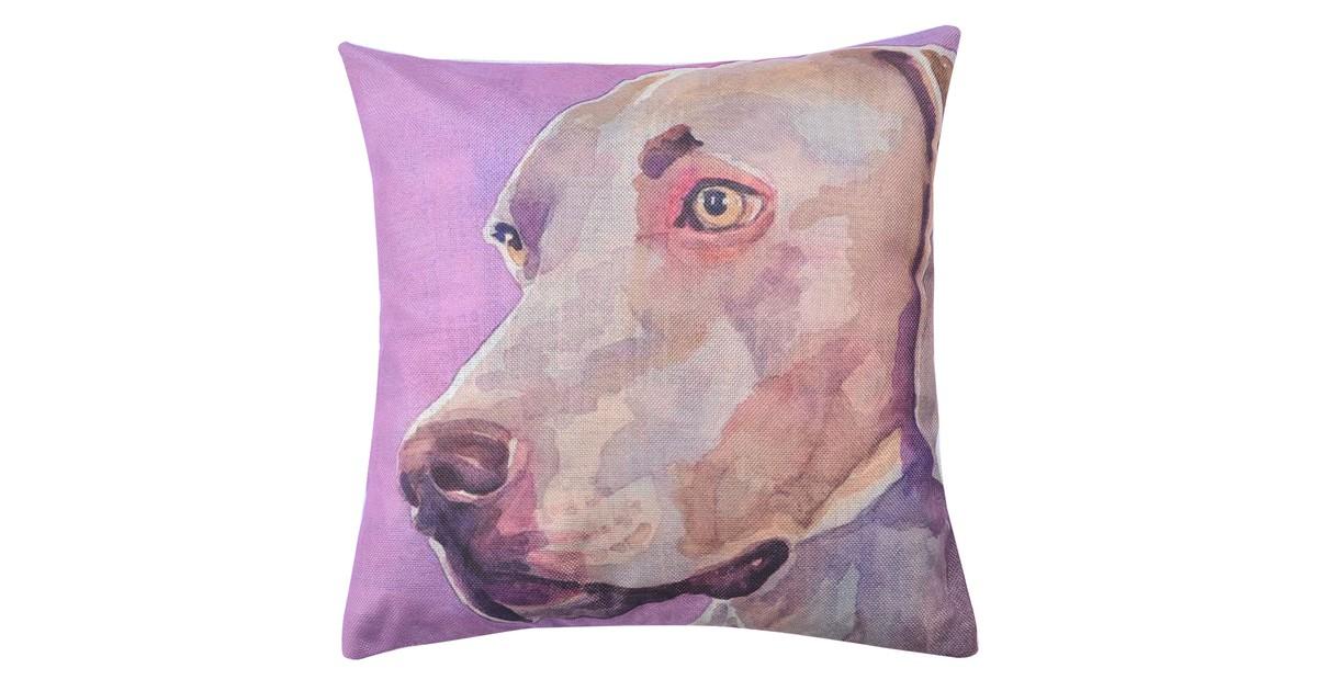 Clayre & Eef Kussenhoes KT021.229 43*43 cm Bruin, Paars, Grijs Polyester Vierkant Hond Sierkussenhoes