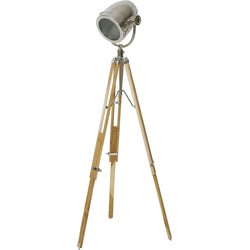 Vloerlamp BOTHA driepoot - naturel hout-staal
