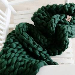 Plaid Donkergroen (biologische wol) - Maat S - Egaal