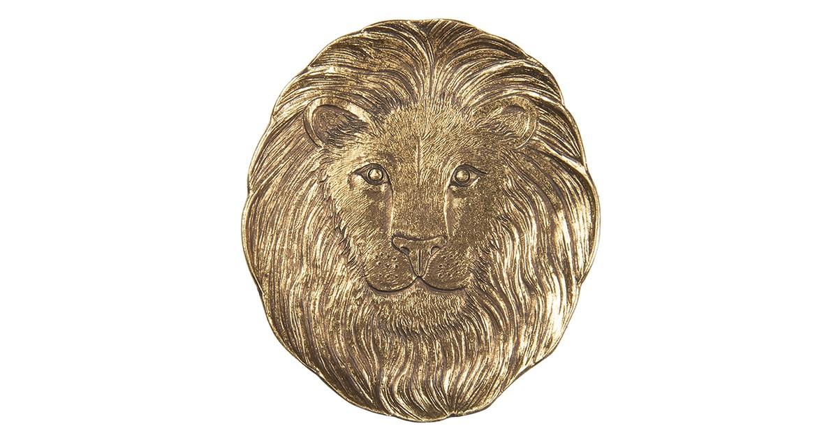 Clayre & Eef decoratief dienblad 6PR3424 14*1*14 cm goudkleurig kunststof rond leeuw