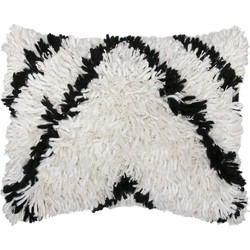 HK-living kussen, sierkussen shaggy hoogpolig wol zwart/wit 40x50cm