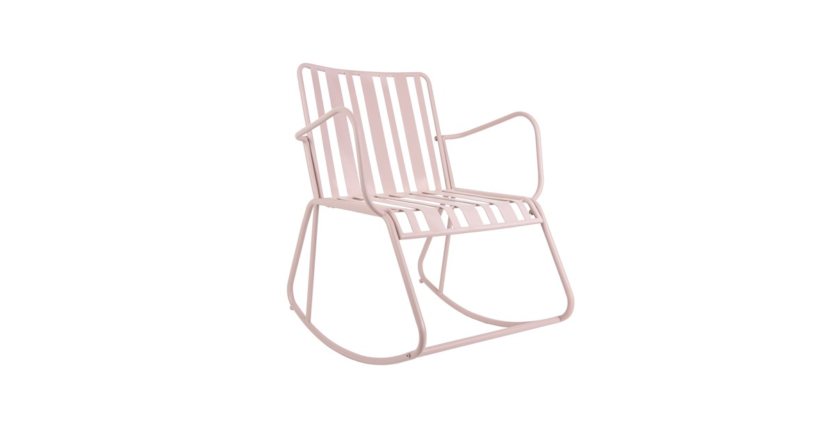 Leitmotiv Tuin-schommelstoel Lines, staal, roze