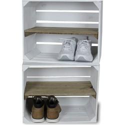 Fruitkist - Nieuw -Wit - Set van 2 - Legplank Bruin Lang - 50x30x40cm