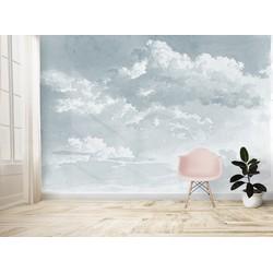 Wolkenbehang Waterverf Schilderij Grijsblauw - 300x250cm