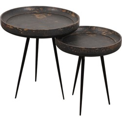 Pole to Pole - Retro burned table set of 2