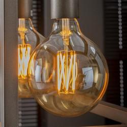 Lichtbron LED filament bol Ø12,5 - E27 6W 2100K 450lm dimbaar / Amberkleurig glas