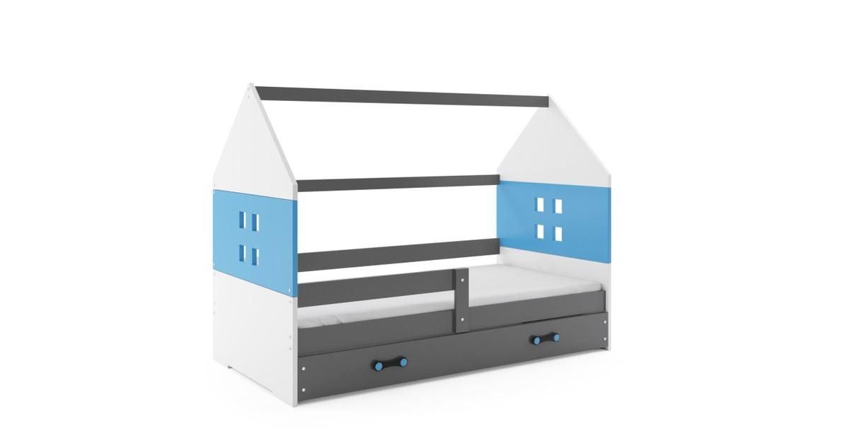 Kinderbed Huisje Grijs & Blauw 80x160 cm | Perfecthomeshop