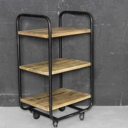 Metalen trolley met hout