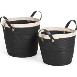 Kave Home - Set Kysna van 2 manden zwart en beige