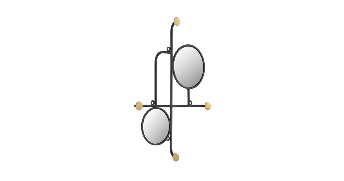 Kave Home Vianela goud spiegel met haken 50 x 35 cm