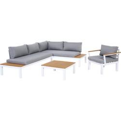 GoodVibes - Aluminium Loungeset / Tuinset met Stoel Ambiance met Waterafstotende Kussens, Wit / Grijs, Houtcomposiet WPC