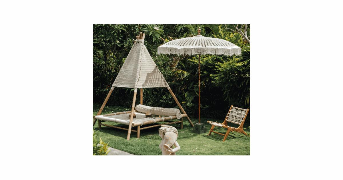 Bali parasol macrame 180 cm créme