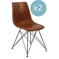 Breazz - Set van 2 Scandi stoelen Cognac
