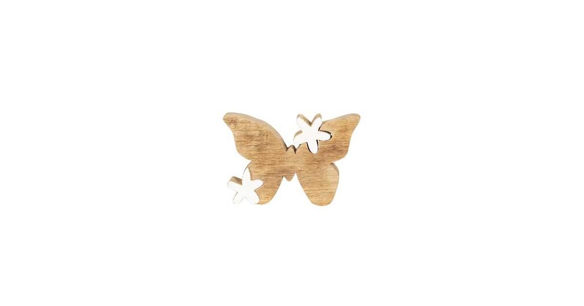 Clayre & Eef Decoratie Vlinder 14*10*2 cm Bruin Hout Decoratief Figuur Decoratieve Accessoires