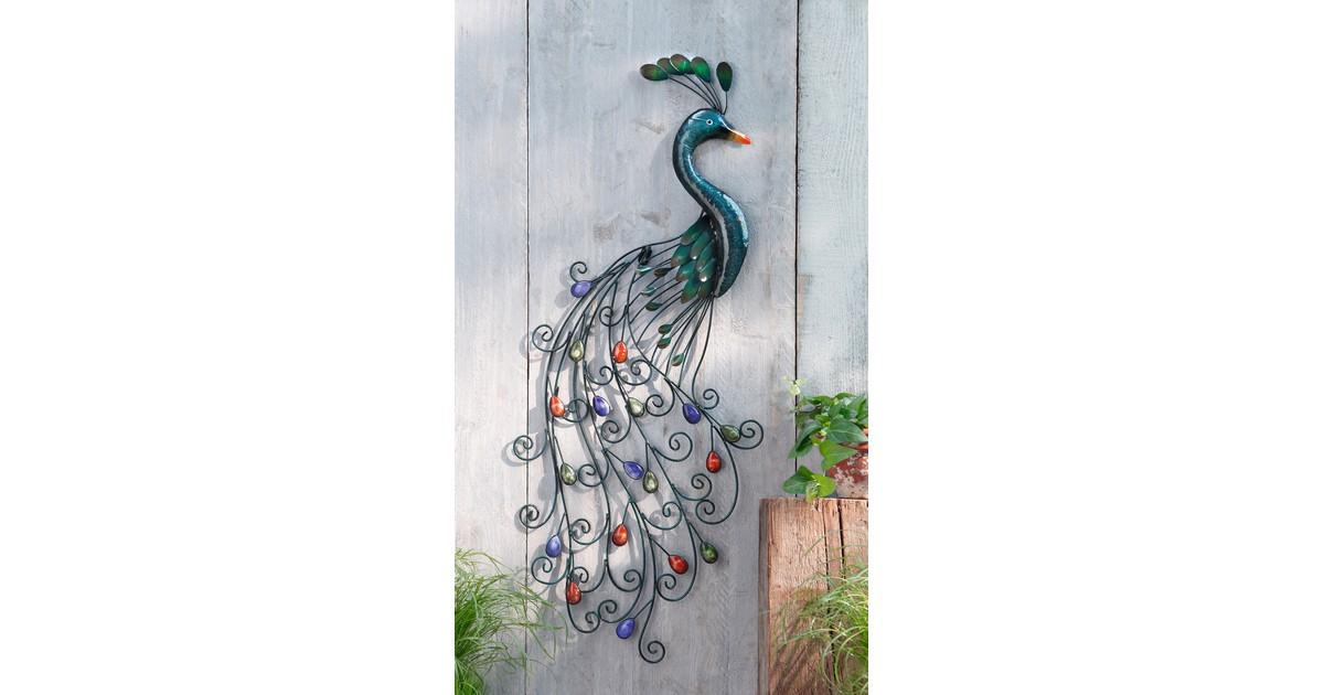Wanddecoratie metalen Pauw 92 cm