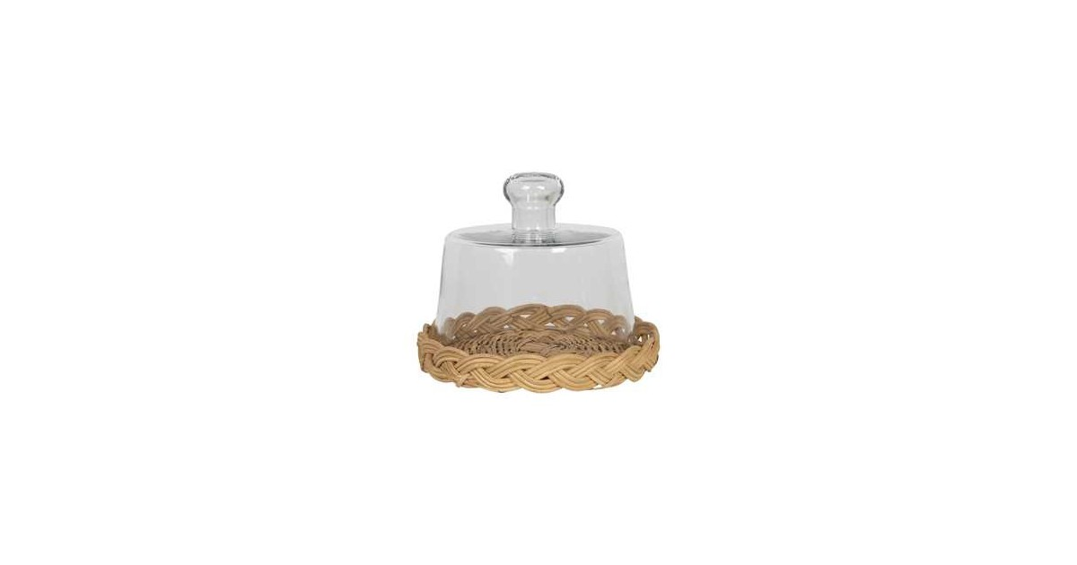 Clayre & Eef Stolp - Ø 15*13 cm - transparant - rotan / glas - rond -  - 6GL2863