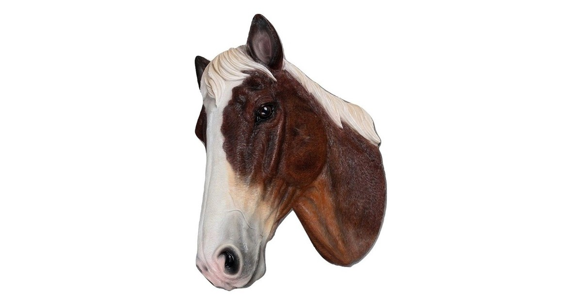 Paardenhoofd Wanddecoratie -Paard - Bruin Wit - Paardenhoofd Bruin Wit 24x34x48