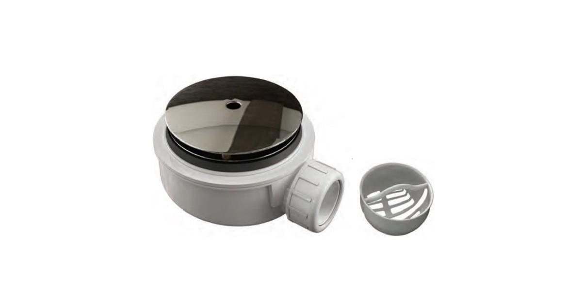 Douchebakkenopmaat.nl Plat douchebak sifon inbouwhoogte 55mm met afdekplaat en zeefje voor gatmaat 90mm