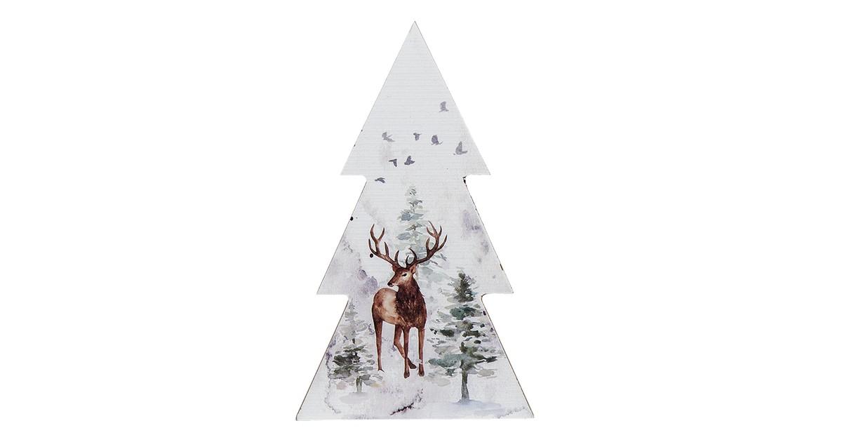False Clayre & Eef Kerstdecoratie Kerstboom 10*2*17 cm Wit Hout Rendier Decoratief Figuur Decoratieve Accessoires