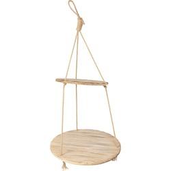 Clayre & Eef Plantenhanger Binnen Ø 56*110 cm Bruin Hout Rond touw Hangpot