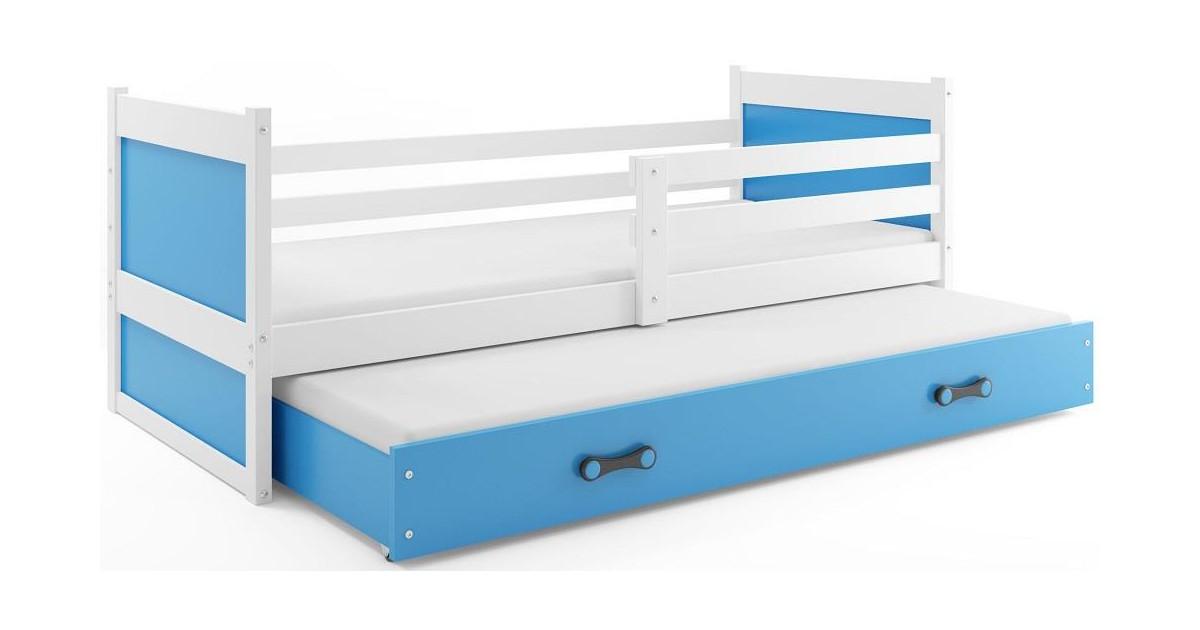 Bed met Onderbed Wit Blauw 90 x 200 - `Kids Life Blue'   Perfecthomeshop