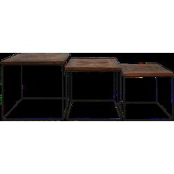 Salontafelset Austin - gerecycled Javahout/ijzer - set van 3