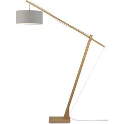 Vloerlamp Montblanc bamboe 4723, linnen lichtgrijs