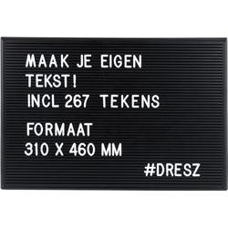 Dresz Retro Letterbord- Inclusief 267 Witte Letters, Nummers, Symbolen, 2 Bevestigingshaken, Landschapsmodus, Leuke Woondecoratie, 46x31cm, Zwart