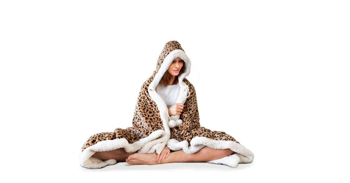 Elegance Hoodie Flanel Fleece Deken Met Capuchon Panther - beige